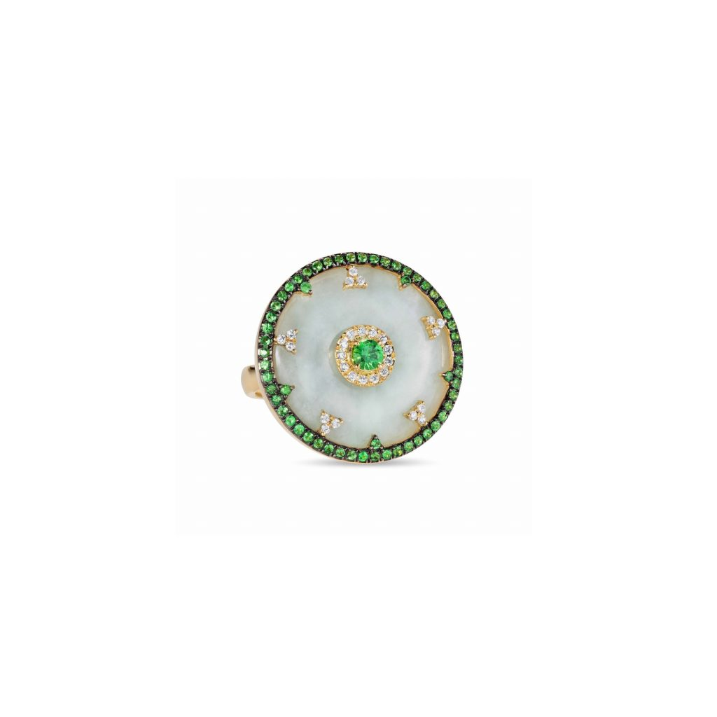 Celeste Tsavorite and Jade Disc Ring by Nadine Aysoy