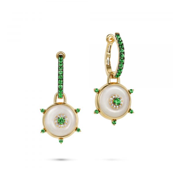 Celeste Hoop Tsavorite and Jade Earrings by Nadine Aysoy