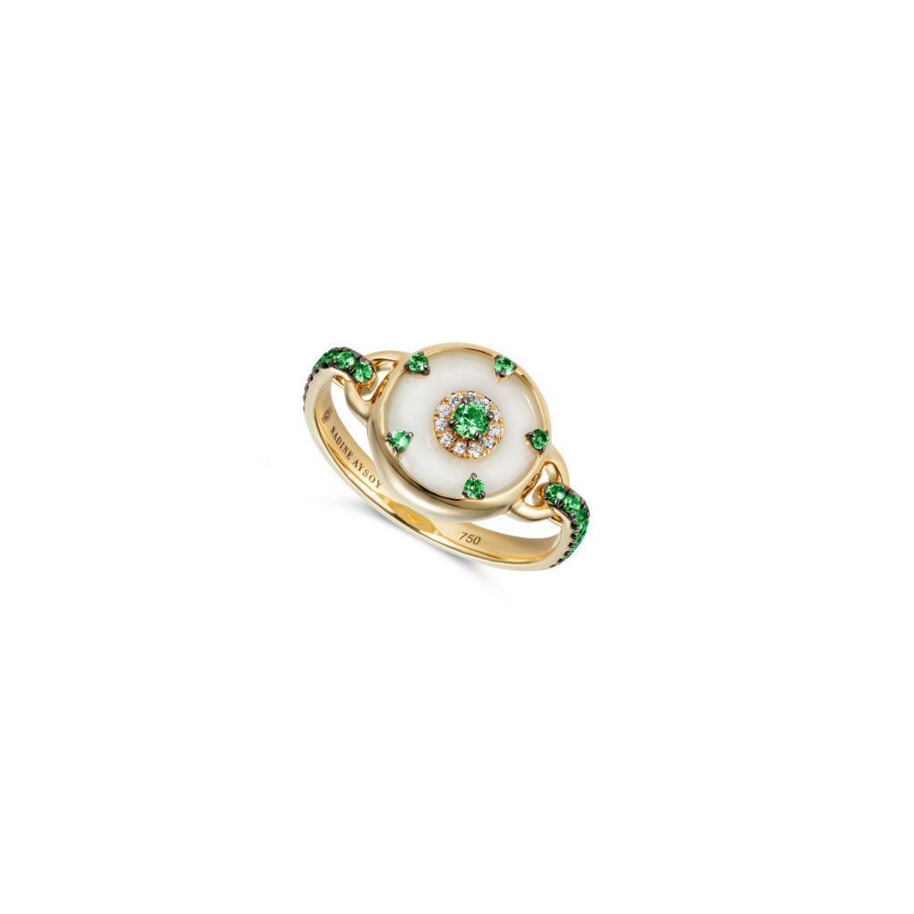 Celeste Tsavorite and Jade Ring by Nadine Aysoy