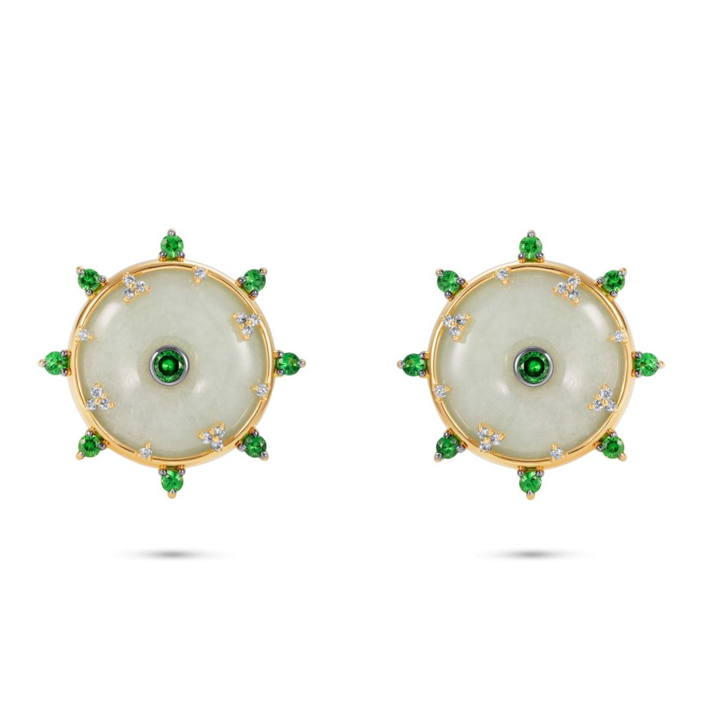 Celeste Tsavorite Stud Earrings by Nadine Aysoy