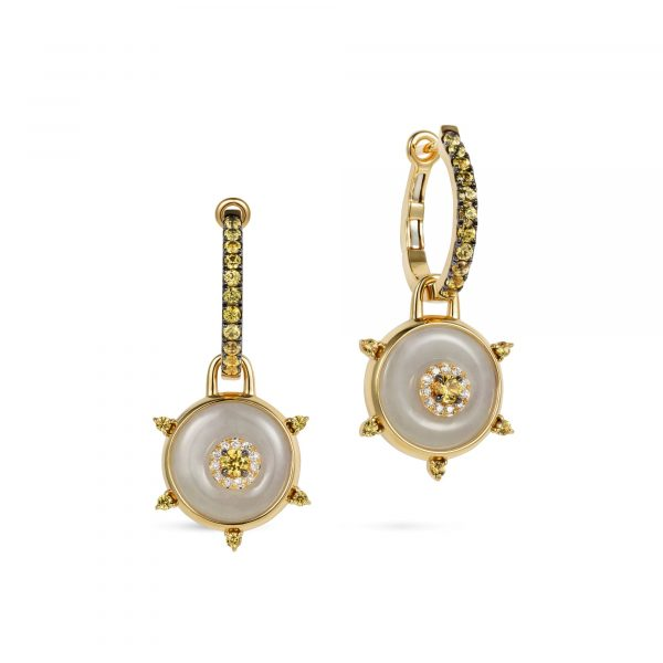 Celeste Hoop Yellow Sapphire and Jade Earrings by Nadine Aysoy