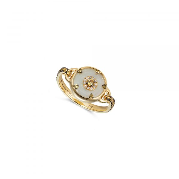 Celeste Yellow Sapphire and Jade Ring by Nadine Aysoy