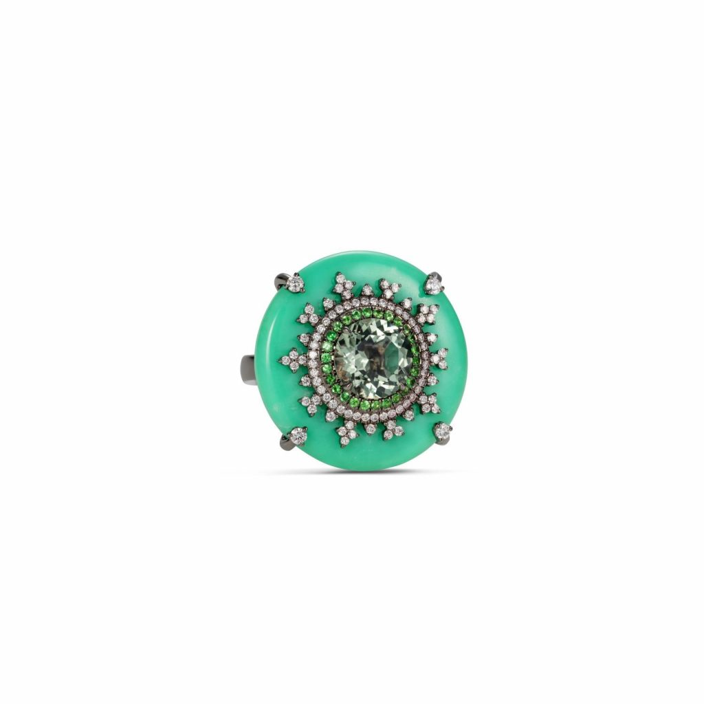 Tsarina Mint Flake Ring by Nadine Aysoy