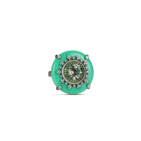 Tsarina Mint Flake Ring by Nadine Aysoy