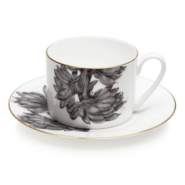 Bananas Tea Cup and Saucer by Sasha Tugolukova