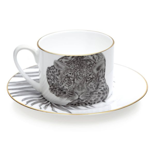 Under The Palm Tea Cup and Saucer by Sasha Tugolukova
