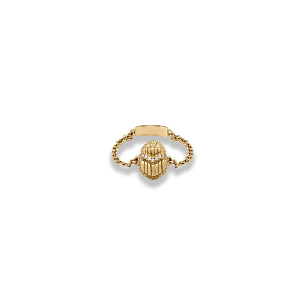 Chain Scarab Ring by Azza Fahmy