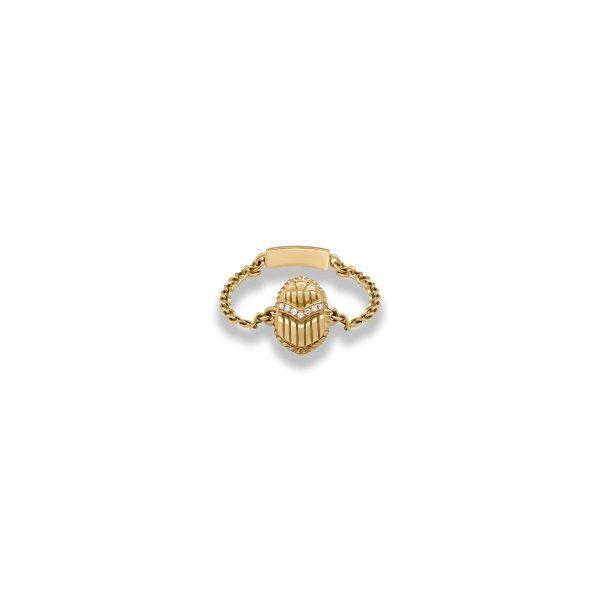 Chain Scarab Ring by Azza Fahmy