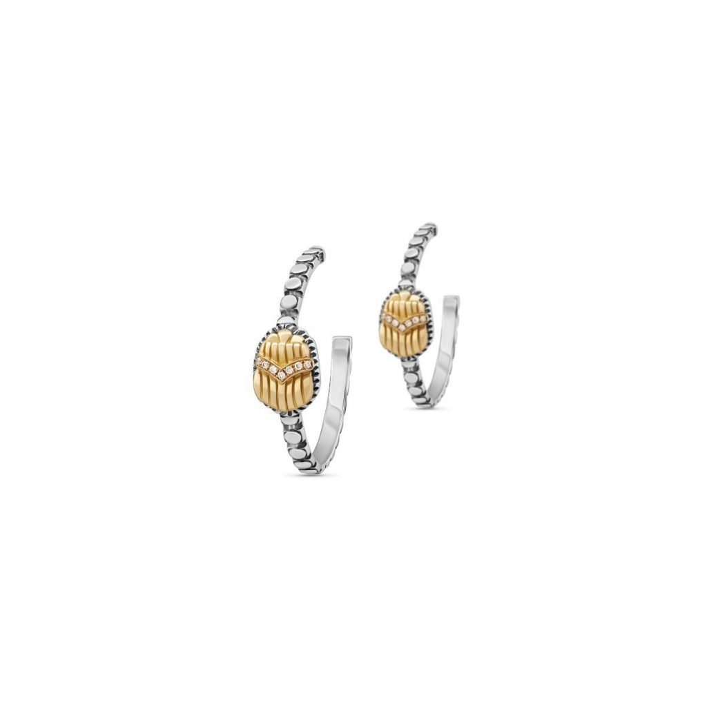 Scarab Hoop Earrings by Azza Fahmy