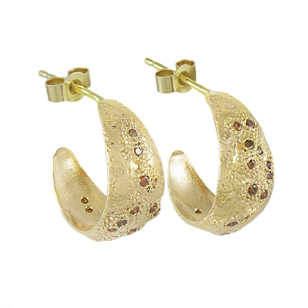 LX Gold & Cognac Diamond Hoop Earrings by Ellis Mhairi Cameron