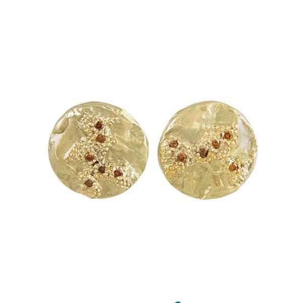 LXXXV Gold & Orange Diamond Earrings by Ellis Mhairi Cameron