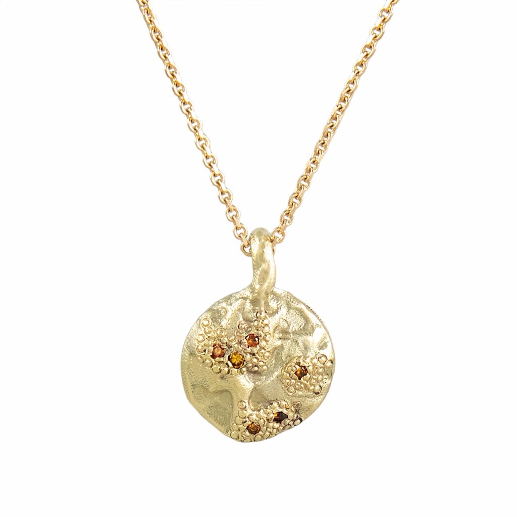 IXI Gold & Orange Diamond Pendant Necklace by Ellis Mhairi Cameron