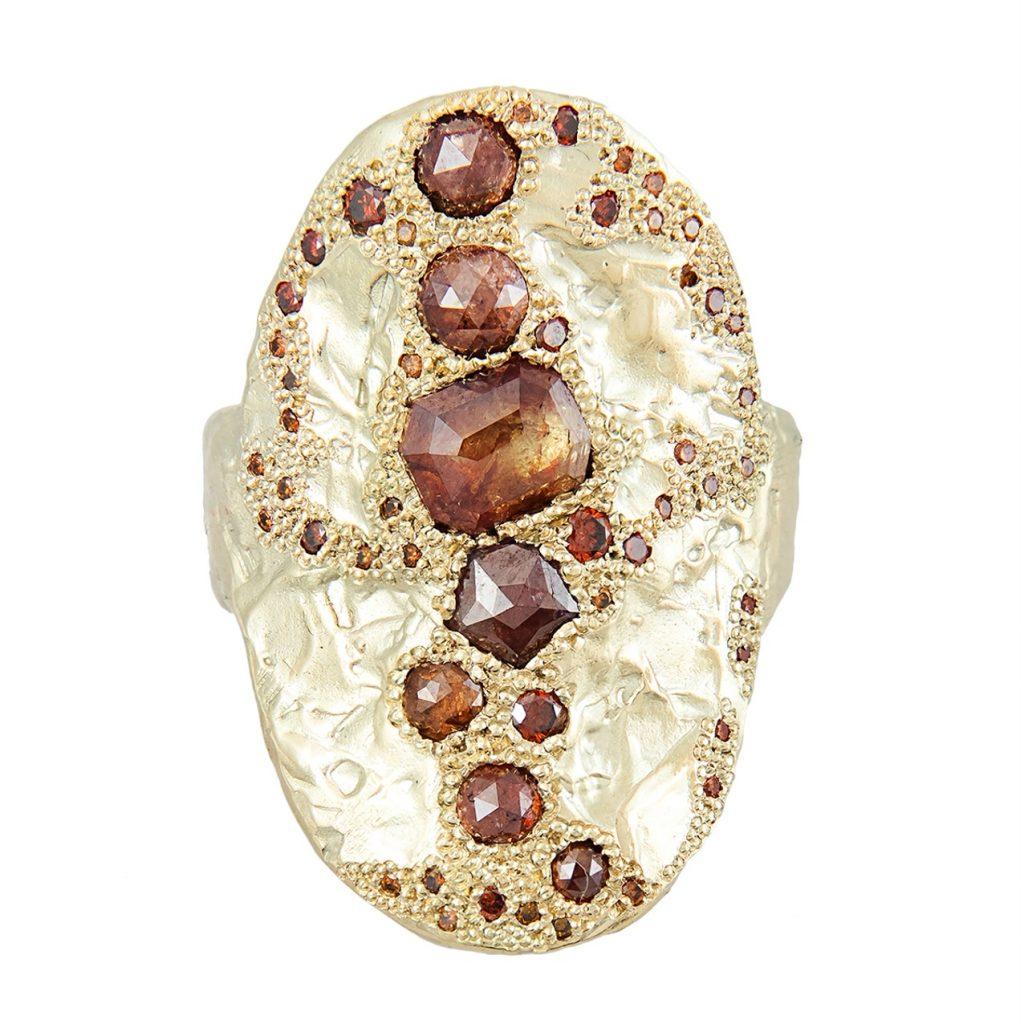 One of a Kind XVI Diamond Shield Ring by Ellis Mhairi Cameron