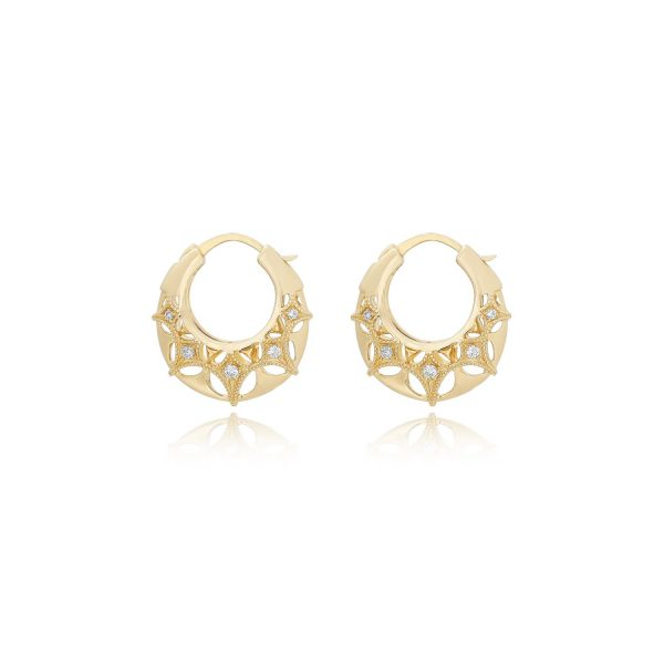 Queen of Diamonds Small Brave Hoop Earrings by Mocielli