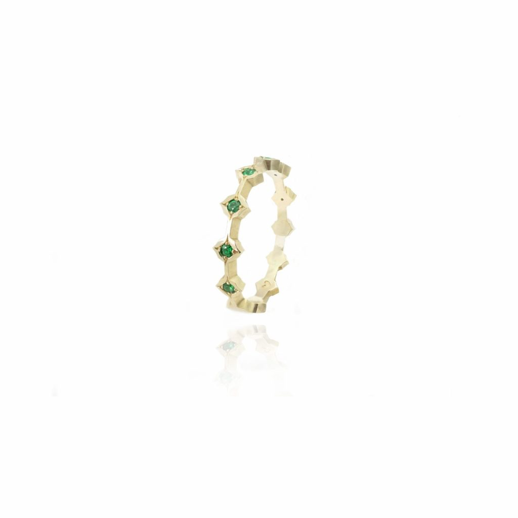 Queen of Life Band with Emeralds by Mocielli