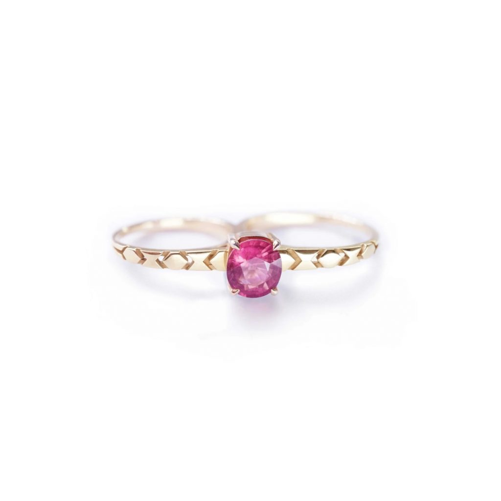 Shooting Star Double Ring with Tourmaline by Mocielli