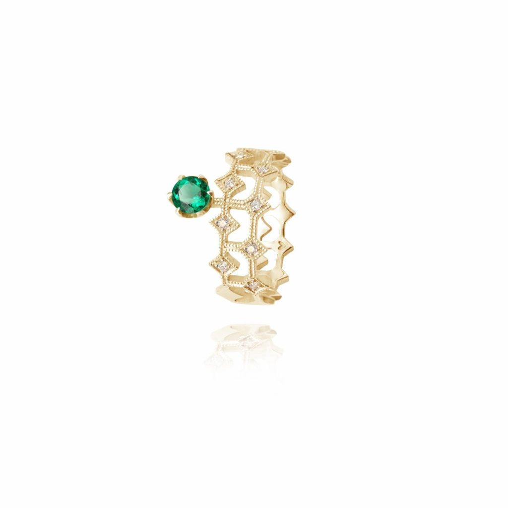 Queen of Life Ring with Side Emerald by Mocielli