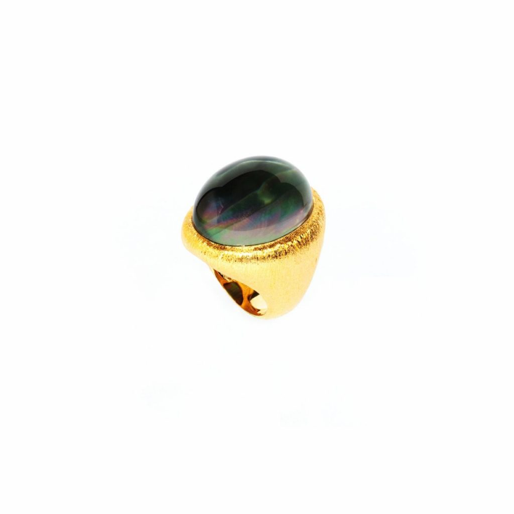 Nepura Black Lip Shell Brushed Gold Ring by NIIN