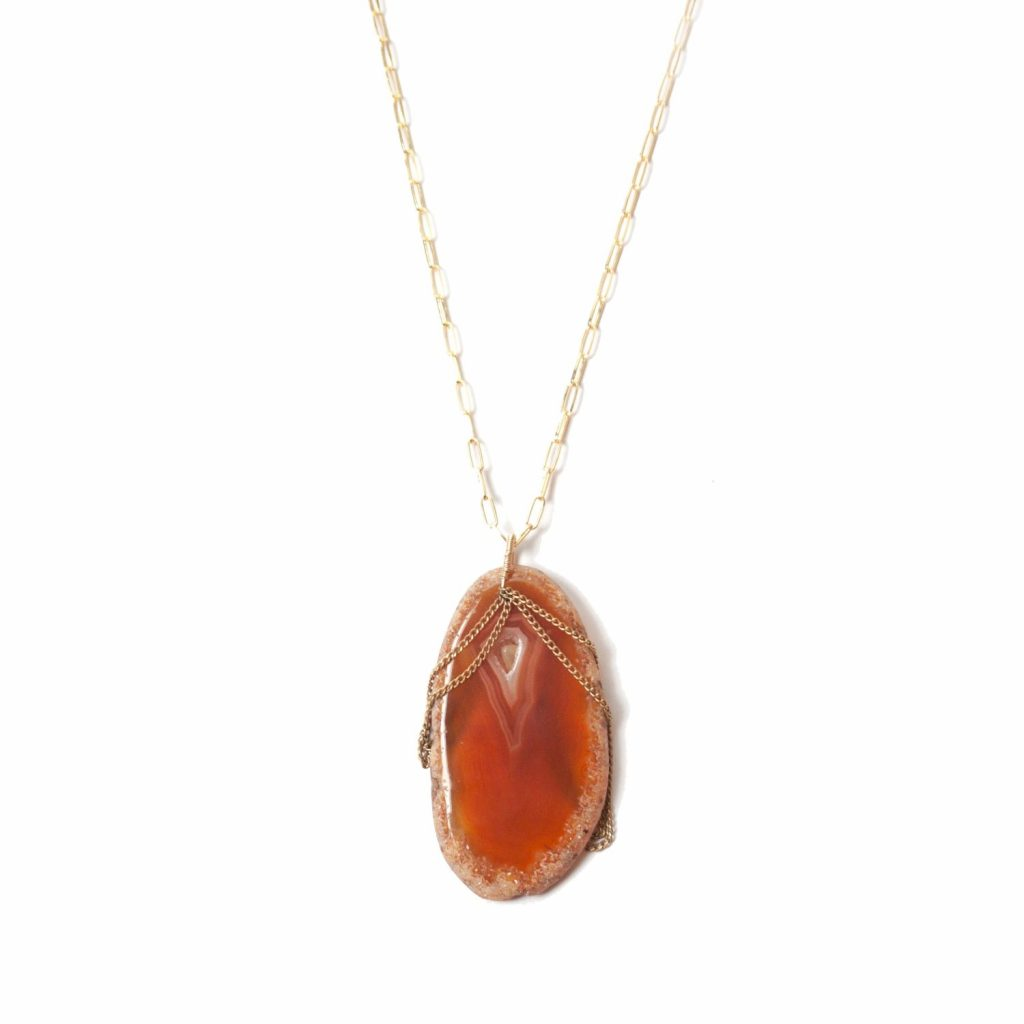 Polished Rock Dyed Agate Necklace – Orange by NIIN