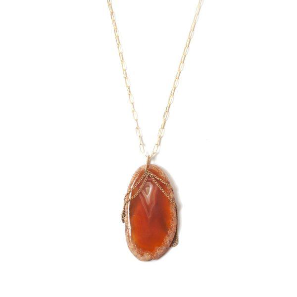 Polished Rock Dyed Agate Necklace – Orange by NIIN