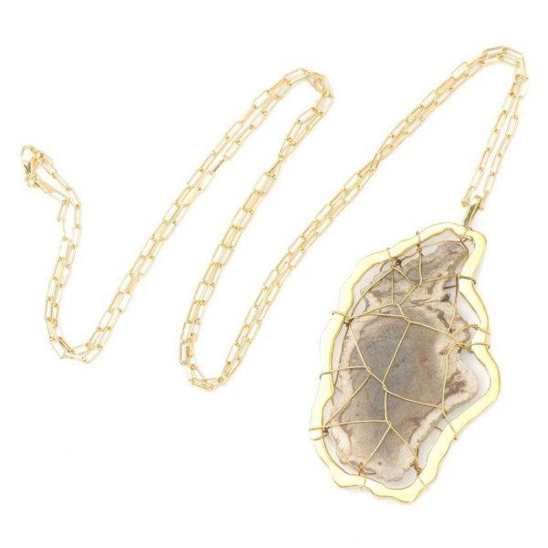 Sienna Petrified Wood Pendant Necklace by NIIN