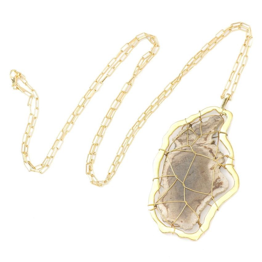 Sienna Petrified Wood Pendant Necklace by NIIN
