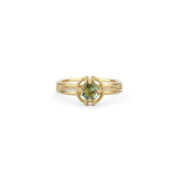 Horizon Halo Ring – Green Sapphire by Shimell & Madden