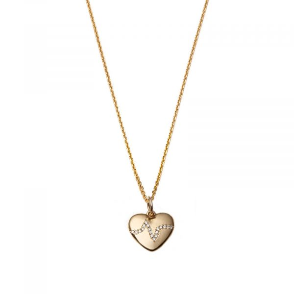 #3 Heartbeat Necklace in 14 Karat Gold with Diamonds by With Love Darling