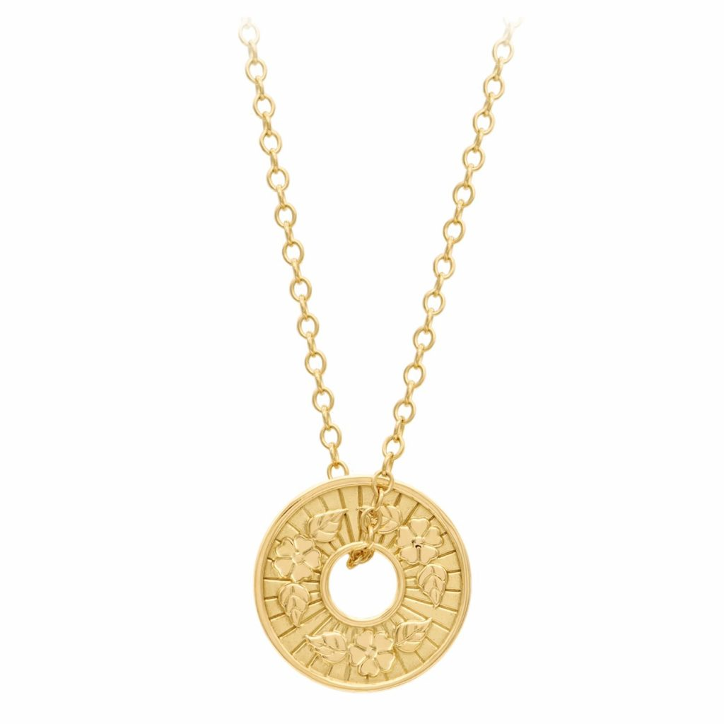Hope & Beauty – Blossom Coin Pendant & Long Chain by A World Entire