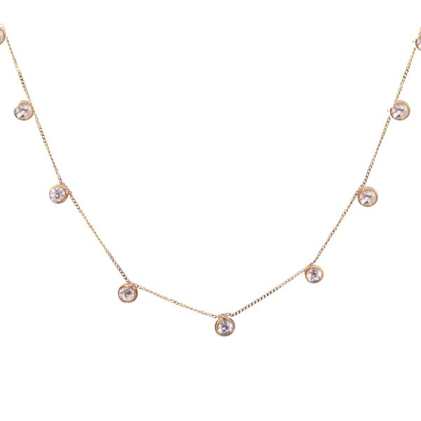 Ten Diamond Droplet Necklace by Lily Flo Jewellery