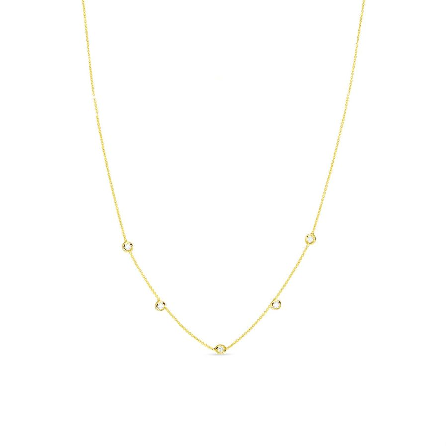 Five Diamond Droplet Necklace by Lily Flo Jewellery