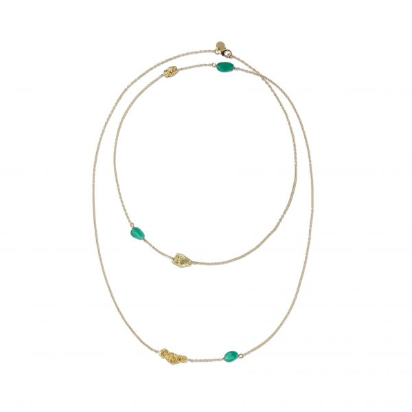 Ottavia Multi Nugget Necklace with Emeralds by Makal