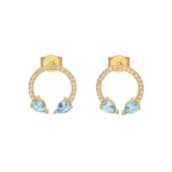 Eclipse Lucky Earrings Blue Topaz by Assya