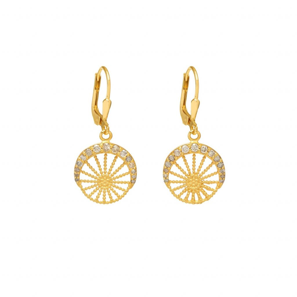 Moonlight Hoop Earrings Gold and Grey Diamond by Assya