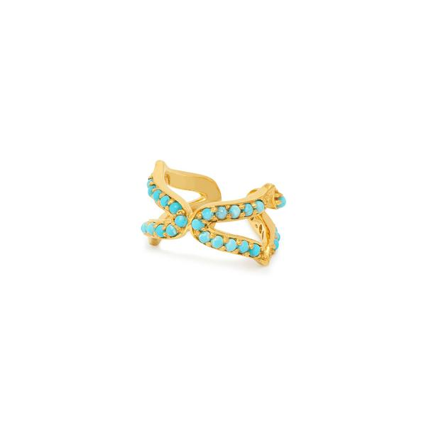 Oriental Ear Cuff Turquoise and Gold by Assya