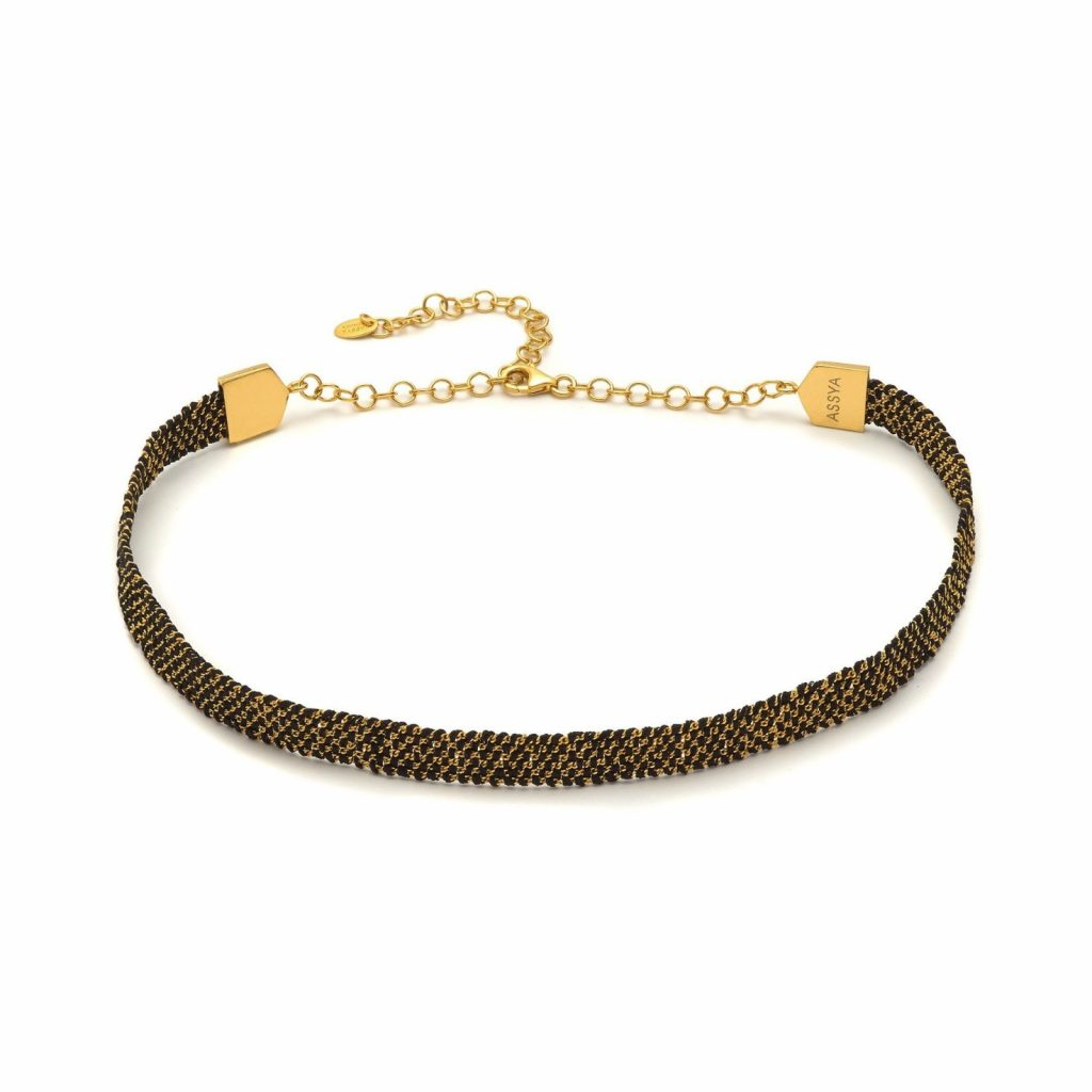 Panama Weaved Choker Black and Gold by Assya