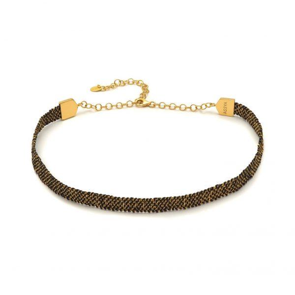 Panama Weaved Choker Black and Gold by Assya
