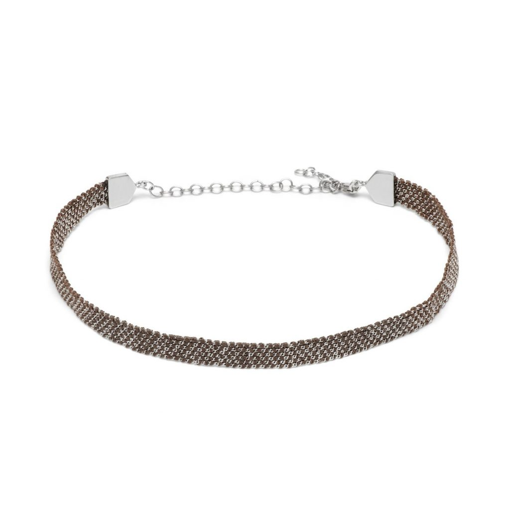 Panama Weaved Choker Brown and Silver by Assya