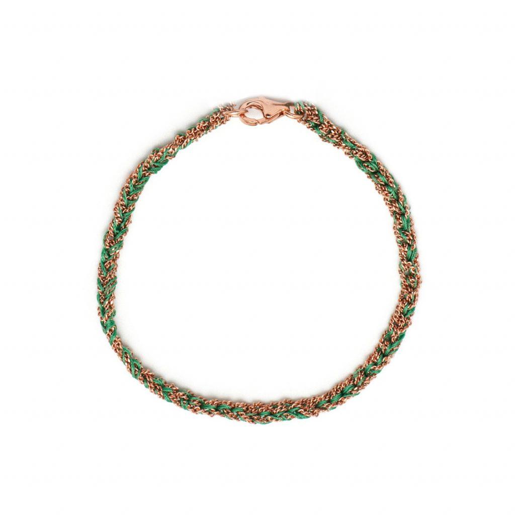 Panama Friendship Bracelet Green and Rose Gold by Assya