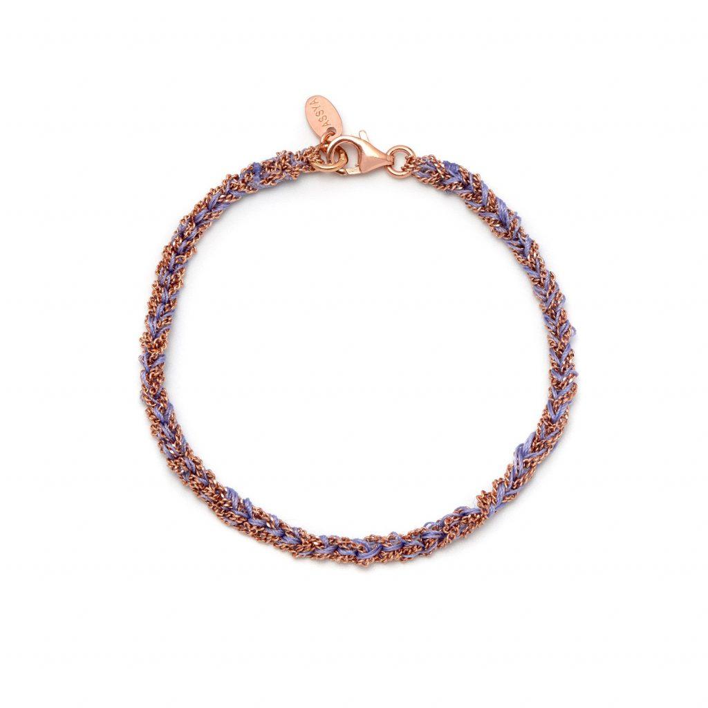 Panama Friendship Bracelet Purple and Rose Gold by Assya