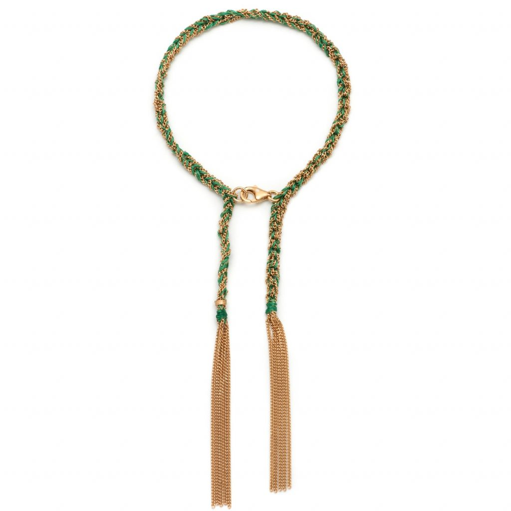 Panama Tassel Bracelet Green and Gold by Assya