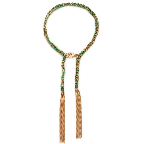 Panama Tassel Bracelet Green and Gold by Assya