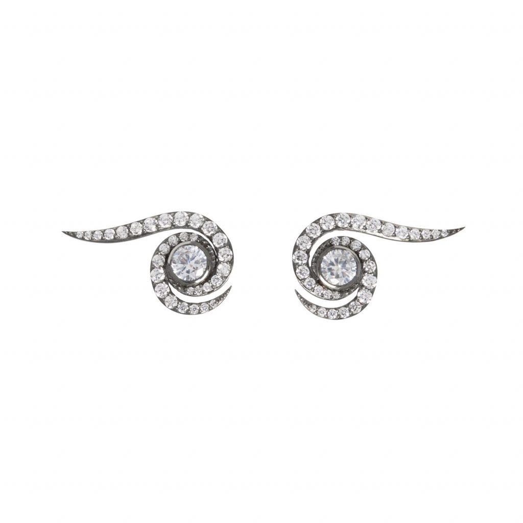 Spiral Earrings Black Rhodium by Assya