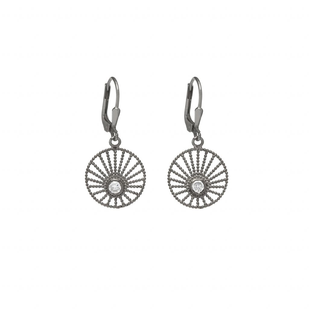 Sunlight Hoop Earrings Black Rhodium by Assya