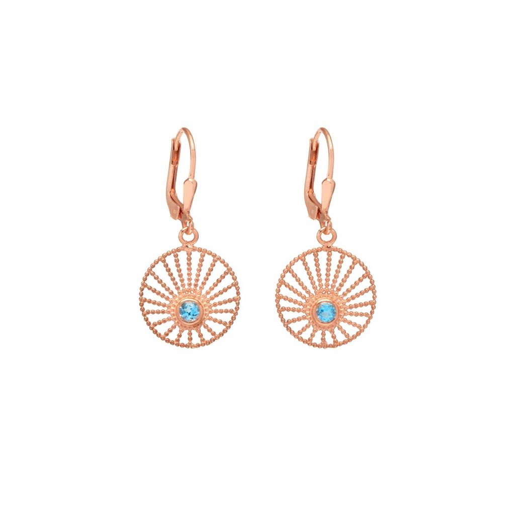 Sunlight Hoop Earrings Rose Gold and Blue Topaz by Assya