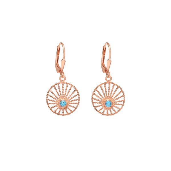 Sunlight Hoop Earrings Rose Gold and Blue Topaz by Assya