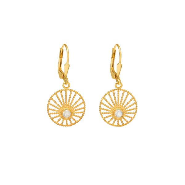 Sunlight Hoop Earrings Gold and Moonstone by Assya