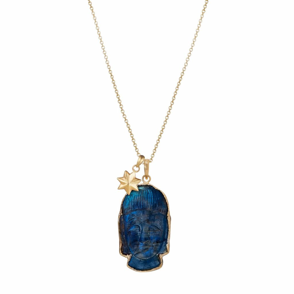 Labradorite Buddha Head with Star Necklace by Sophie Theakston