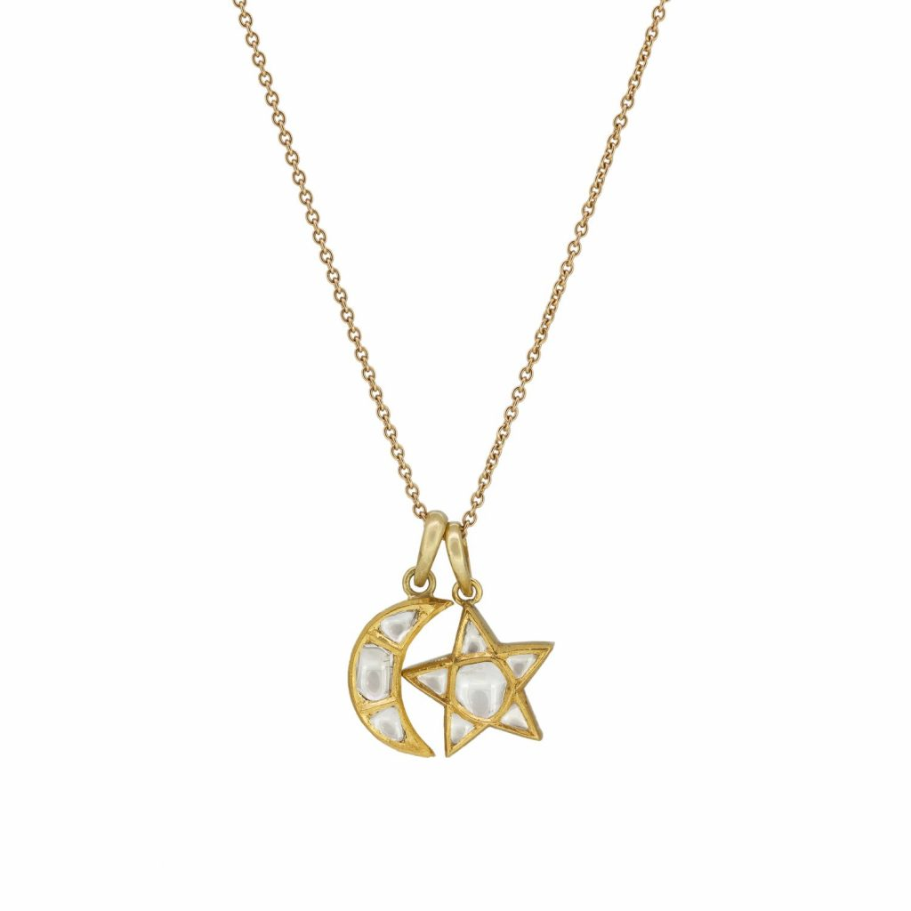 Large Polki Star and Moon Necklace by Sophie Theakston