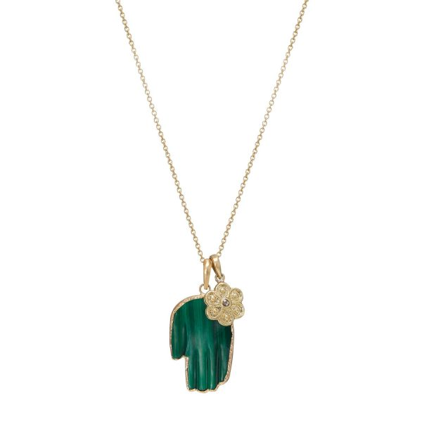 Large Malachite Hand with Marigold Necklace by Sophie Theakston